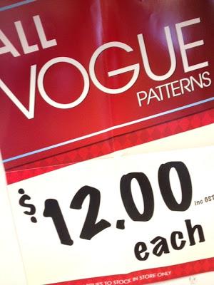 Vogue Pattern Sale on at Tessuti Fabrics